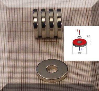D17/d6x2,5mm. NdFeB gyűrűmágnes N42 anyagból