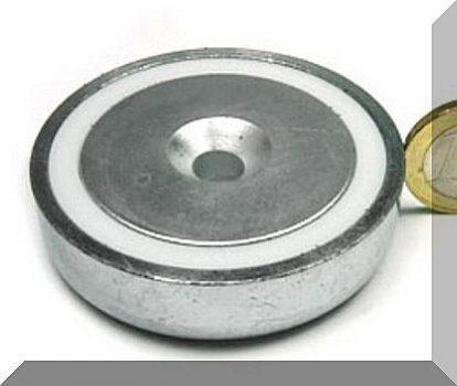D60x15 mm. NdFeB Betétes süllyesztett furatos POT mágnes (135kg.)
