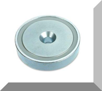 D75x18mm. NdFeB Betétes süllyesztett furatos POT mágnes (160kg.)