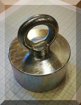 D75x40/85 Függesztőszemes, NdFeB betétes POT mágnes (340 Kg.)