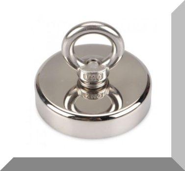 D80x18/66 Függesztőszemes fémhorgász, NdFeB betétes POT mágnes -250 KG.