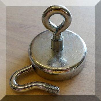 D60x15/28/62 mm. Kampós, Szemes POT NdFeB betétes mágnes (110Kg.)