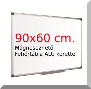 90x60 Cm. fehértábla, mágnesezhető, irható- törölhető- ALU kerettel.