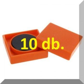 35x35x9mm. 10-es szett! Nagy négyzetes irodamágnes ferrit mágnes betéttel - Narancs