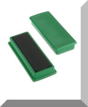 55x23x9mm. Nagy négyzetes irodamágnes ferrit mágnes betéttel - Zöld