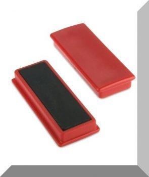 55x23x9mm. Nagy négyzetes irodamágnes ferrit mágnes betéttel - Piros