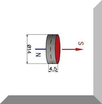 D14x4,5 mm. Ferrit korong mágnes