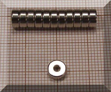 D6/d2x2,5 mm. N38 NdFeB gyűrűmágnes - axial