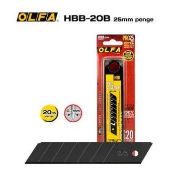OLFA HBB-20B 25mm. Extra éles törhető penge (fekete) 20db./csomag