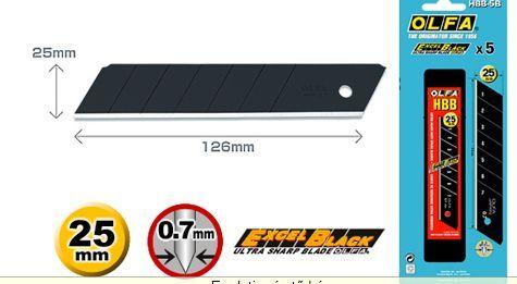 OLFA HBB-5B 25mm. Extra éles törhető penge (fekete) 5db./csomag