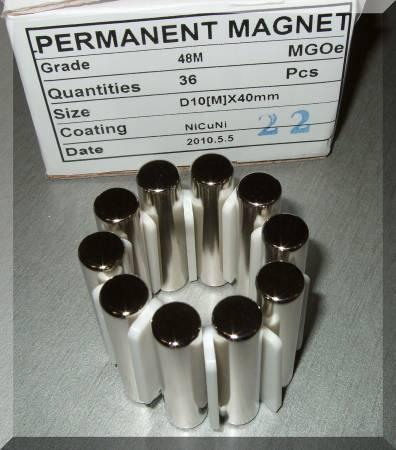 D10x40 N48 Diametriálisan mágnesezett Neodym henger mágnes
