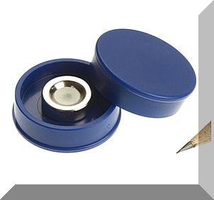 D30x8 mm. Nagy irodamágnes NdFeB mágnes betéttel - kék