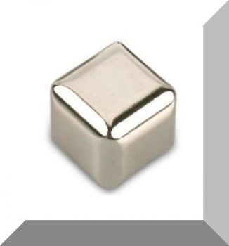 15x15x15 mm. N45 Kocka R4 rádiusszal Neodym mágnes / Nikkel