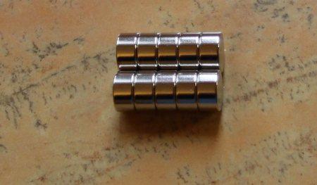 D12x6 mm. Neodym korong mágnes N42 Radiálisan mágnesezett