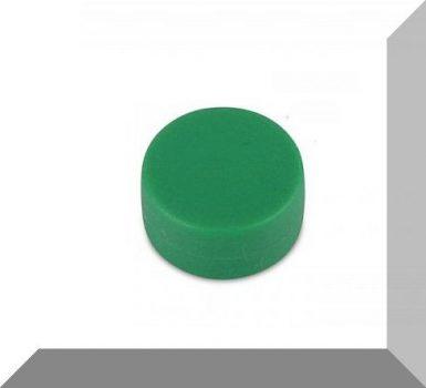 D12,7x6,3 mm. NdFeB Műanyag-bevonatos mágnes (Polipropilén) -Zöld