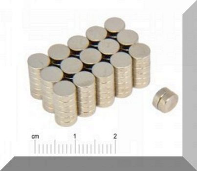 D6x2 mm. Neodym korong mágnes N35