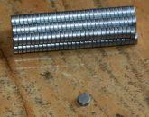 D6x2 mm. Neodym korong mágnes N35 (Cink)