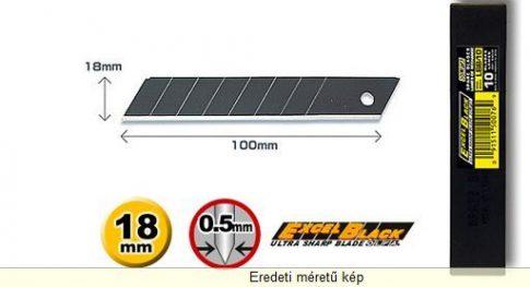 OLFA 18mm. Extra éles törhető penge (fekete) 10db./csom