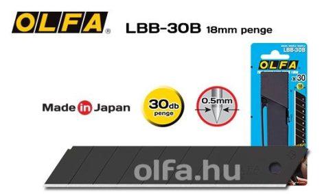 OLFA 18mm. Extra éles törhető penge (fekete) 30db./csom LBB-30