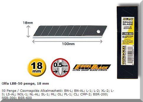 OLFA 18mm. Extra éles törhető penge (fekete) 50db/csom.