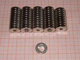 D14x3 Furat 4 Süly.8mm. Neodym korong mágnes süly. furattal. (mélyebb süllyesztés)
