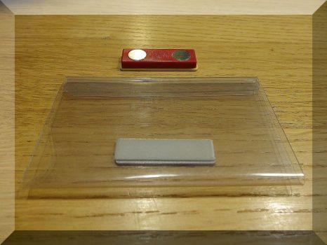 Mágneses névjegytartó klipsz. 90x54 mm.