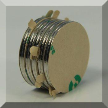 D22x1 mm. Öntapadós korong mágnesek (5 pár) SZETT