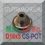 D16x5/13 Csapos belső M4 menetes N35 NdFeB betétes  POT mágnes