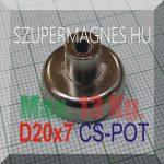 D20x7/16 Csapos belső M4 menetes N35 NdFeB betétes  POT mágnes