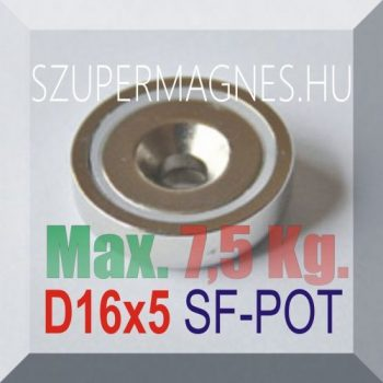 D16x5 Süllyesztett furatos NdFeB betétes N35 POT mágnes