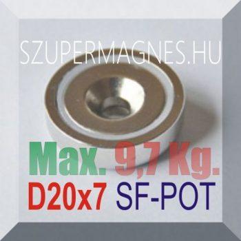 D20x7 Süllyesztett furatos NdFeB betétes N35 POT mágnes