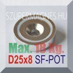 D25x8 Süllyesztett furatos NdFeB betétes N35 POT mágnes