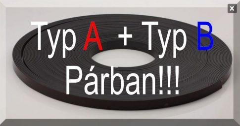 12,7 x 1,5 mm. széles öntapadós mágnesszalag párban A+B Tip