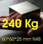 60x60x25 mm. Neodímium téglatest mágnes N48 (Kolosszus)