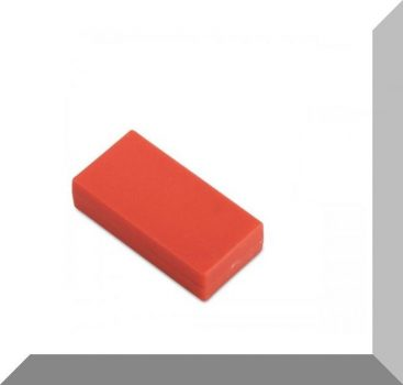 25x13x6 mm. NdFeB Műanyag-bevonatos mágnes (Polipropilén) -piros