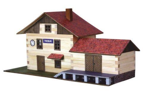 Építőkészlet fa játék -Vasútállomás - Nr.-36